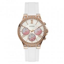 Relógio Feminino Guess Watches Pulseira de Esportivo Rose Gold & Branco Fundo Branco