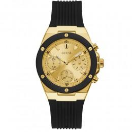 Relógio Feminino Guess Watches Pulseira de Esportivo Preto Fundo Champanhe