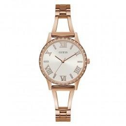 Relógio Feminino Guess Pulseira de Aço Rose Gold Fundo Branco 92742LPGLRA2