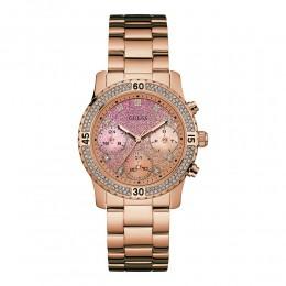 Relógio Feminino Guess Watches Pulseira de Aço Rose Gold Fundo Rosa