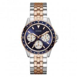 Relógio Feminino Guess Watches Pulseira de Aço Prata & Rose Gold Fundo Azul