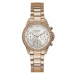 Relógio Feminino Guess Watches Pulseira de Aço Rose Gold Fundo Branco