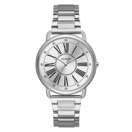 Relógio Feminino Guess Watches Pulseira de Aço Prata Fundo Prata