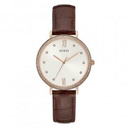 Relógio Feminino Guess Pulseira de Couro Marrom Fundo Branco 92706LPGDRC1