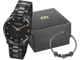Relógio feminino Mondaine Aço Preto 32111LPMVPE2K c/ Semijóia
