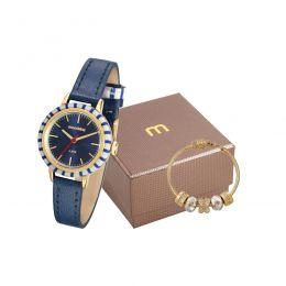 Kit Relógio Feminino Mondaine Pulseira de Aço Inoxidável Dourado Fundo Prata e Pulseira Berloque