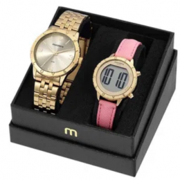 Relógio Feminino Mondaine Dourado e Digital 32143K