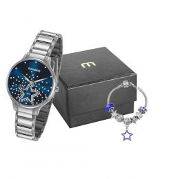 Relógio Feminino Mondaine Prateado 53862L0MVNE1K1 c/ Semijóia