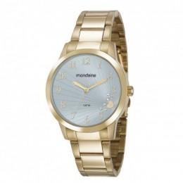Relógio Feminino Mondaine Pulseira de Aço Inoxidável Dourado Fundo Azul 53756LPMVDE2