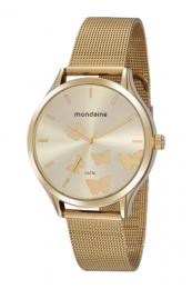 Relógio Feminino Mondaine Pulseira de Aço Inoxidável Dourado Fundo Champanhe 76752LPMVDE1