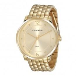 Relógio Feminino Mondaine Pulseira de Aço Inoxidável Dourado Fundo Champanhe 76759LPMVDE2
