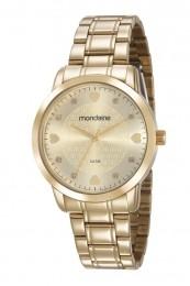 Relógio Feminino Mondaine Pulseira de Aço Inoxidável Dourado Fundo Champanhe 83430LPMVDE1