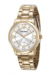 Relógio Feminino Mondaine Pulseira de Aço Inoxidável Dourado Fundo Prata 83367LPMVDE1