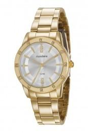 Relógio Feminino Mondaine Pulseira de Aço Inoxidável Dourado Fundo Prata 99312LPMGDE2
