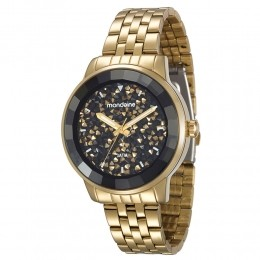 Relógio Feminino Mondaine Pulseira de Aço Inoxidável Dourado Fundo Preto 94713LPMVDE2
