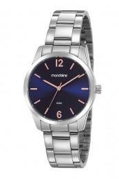Relógio Feminino Mondaine Pulseira de Aço Inoxidável Prata Fundo Azul 99457L0MVNE2