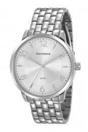 Relógio Feminino Mondaine Pulseira de Aço Inoxidável Prata Fundo Prata 76740L0MVNE1
