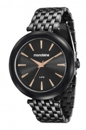 Relógio Feminino Mondaine Pulseira de Aço Inoxidável Preto Fundo Preto 76559LPMVPE4