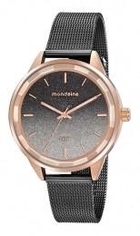 Relógio Feminino Mondaine Pulseira de Aço Inoxidável Preto Fundo Preto