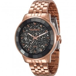 Relógio Feminino Mondaine Pulseira de Aço Inoxidável Rose Gold Fundo Cinza 99345LPMVRS1