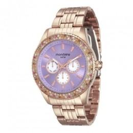 Relógio Feminino Mondaine Pulseira de Aço Inoxidável Rose Gold Fundo Roxo 78731LPMVRA3