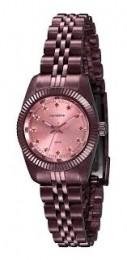 Relógio Feminino Mondaine Pulseira de Aço Inoxidável Vermelho Fundo Rosa