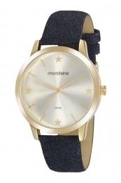 Relógio Feminino Mondaine Pulseira de Tecido Azul Fundo Prata