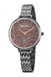 Relógio Feminino Seculus Pulseira de Aço Chumbo Fundo Marrom 20839LPSVSS2
