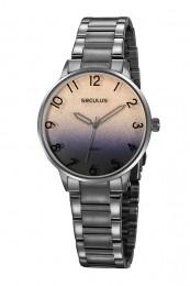 Relógio Feminino Seculus Pulseira de Aço Chumbo Fundo Roxo 77070LPSVSS2