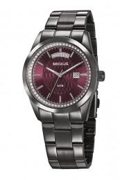Relógio Feminino Seculus Pulseira de Aço Chumbo Fundo Vermelho 35002LPSVSS4