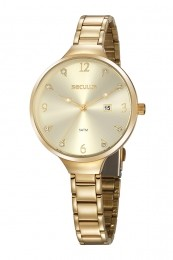 Relógio Feminino Seculus Pulseira de Aço Dourada Fundo Champagne