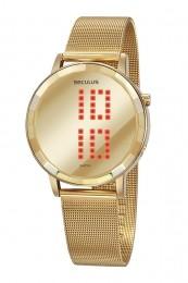 Relógio Feminino Seculus Pulseira de Aço Dourada Fundo Led 77063LPSVDS1