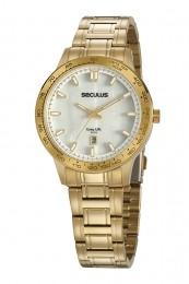 Relógio Feminino Seculus Pulseira de Aço Dourada Fundo Madreperola 20897LPSVDA1