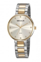 Relógio Feminino Seculus Pulseira de Aço Prata & Dourado Fundo Champagne 23688LPSVBS3
