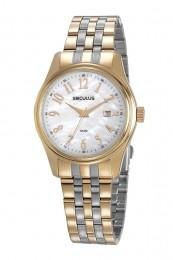 Relógio Feminino Seculus Pulseira de Aço Prata & Dourado Fundo Madreperola 77049LPSVBS3