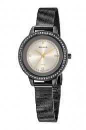 Relógio Feminino Seculus Pulseira de Aço Preta Fundo Champagne