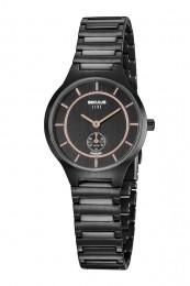Relógio Feminino Seculus Pulseira de Aço Preta Fundo Preto 20774LPSVPS3