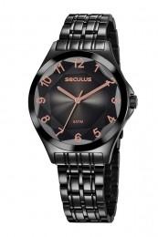 Relógio Feminino Seculus Pulseira de Aço Preta Fundo Preto 23602LPSVPS7