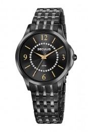 Relógio Feminino Seculus Pulseira de Aço Preta Fundo Preto 77054LPSVPS3