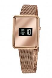 Relógio Feminino Seculus Pulseira de Aço Rose Gold Fundo Lcd Negativo