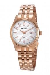 Relógio Feminino Seculus Pulseira de Aço Rose Gold Fundo Madreperola 77049LPSVRS1