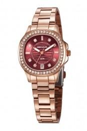 Relógio Feminino Seculus Pulseira de Aço Rose Gold Fundo Marrom
