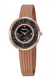 Relógio Feminino Seculus Pulseira de Aço Rose Gold Fundo Preto 13042LPSVRS5