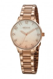 Relógio Feminino Seculus Pulseira de Aço Rose Gold Fundo Rose Gold 77070LPSVRS1