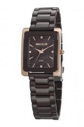 Relógio Feminino Seculus Pulseira de Cerâmica Marrom Fundo Marrom 20748LPSVRQ3
