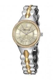 Relógio Feminino Seculus Pulseira de Metal Especial  Prata & Dourado Fundo Champagne 20846LPSVBB2