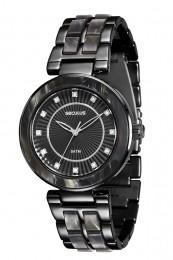 Relógio Feminino Seculus Pulseira de Resina Preta Fundo Preto 20410LPSVPF6