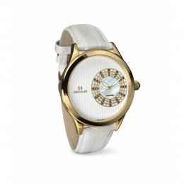 Relógio Feminino Seculus Swiss Made 167221063LWYW Pulseira de couro e vidro de Safira com 02 anos de Garantia