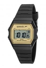 Relógio Feminino Speedo Pulseira de Poliuretano Preta Fundo LCD Positivo