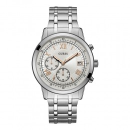 Relógio Masculino Guess Watches Pulseira de Aço Prata Fundo Prata